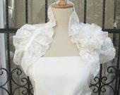 Lace Shoulder Wrap Bridal Ruffle  Wedding Shrug Ivory Off White