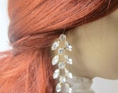 Bridal, wedding, Chandelier 3.5 Inches Long drop earrings Strass Crystal rhinestone gold color