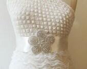 Flower  Rhinestones Sashes Beaded Bridal Wedding Belt with  crystal beads