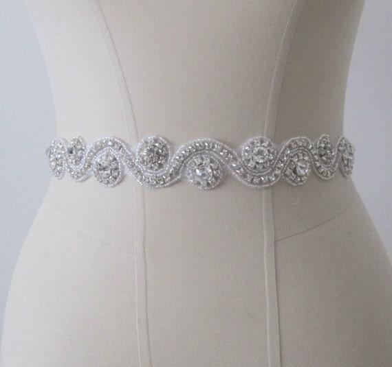 Beaded Bridal Wedding Sash Belt with Rhinestones crystal beads with ivory or white ribbon