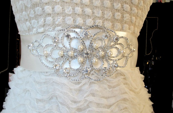 Bridal Belts with Pearls Rhinestones Bridal Sashes Crystal Beaded Bridal Wedding  Belt