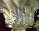 Dugan White Carnival Glass Compote - Constellation/Nautilus pattern, Circa early 1900's