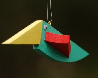 UPCYCLED Handcrafted Unique Hanging Wooden Birds - 5.5 x 1 x 1.75 gift for boys for girls christmas gift