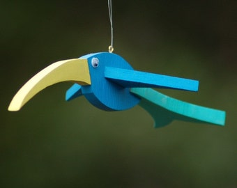 UPCYCLED Handcrafted Unique Hanging Wooden Birds - 6 x 3 x 2