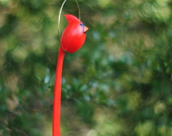 Cute Hanging Hand Carved Male Cradinal - This Cardinal balances freely on the stick Great christmas gift