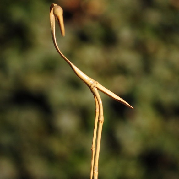Hand Made Bamboo Bird (EGRET) - bamboo bird asian asia art decor a little bird told me  birdy cute little bird for your birder friends