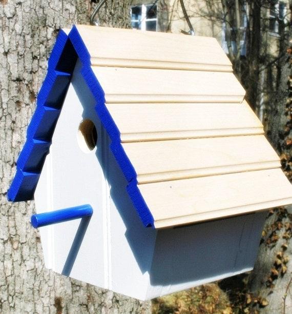 Upcycled Reclaimed Bird House Nest Box Bluebird Chickadee Nuthatch Titmouse or Carolina Wrens love birds egg gift for Birder friends