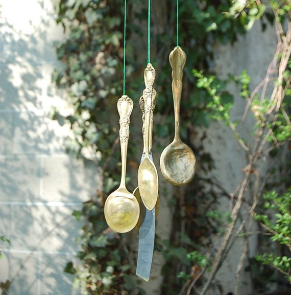 Hand made Golden Silverware Windchime garden decoration / home decor / garden decor Christmas gift