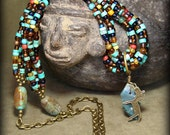 Turquoise Necklace - Seed Bead Necklace - Native Necklace - Pendant Necklace - Long Necklace - Southwest Necklace - Tribal Necklace