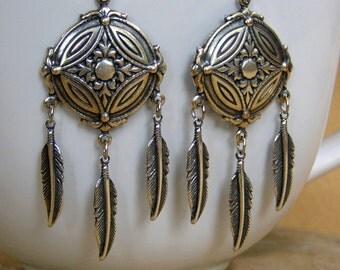 Silver Earrings, Feather Earrings, Tribal Jewelry, Tribal Earrings, Southwestern Jewelry, Native American Inspired, Native Chandelier