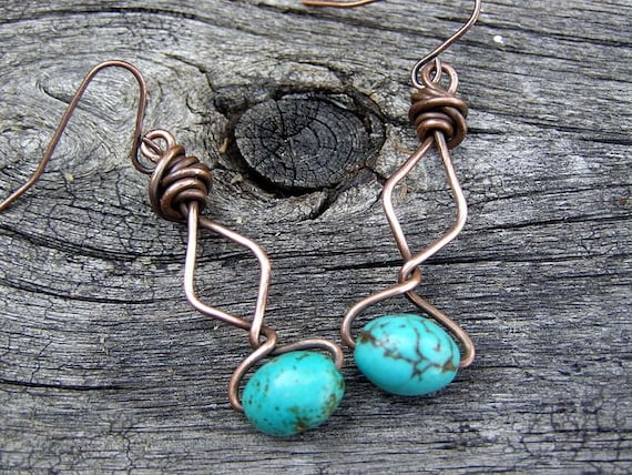 Turquoise Earrings - Copper Earrings - Primitive Earrings - Native Earrings - Ooak Earrings