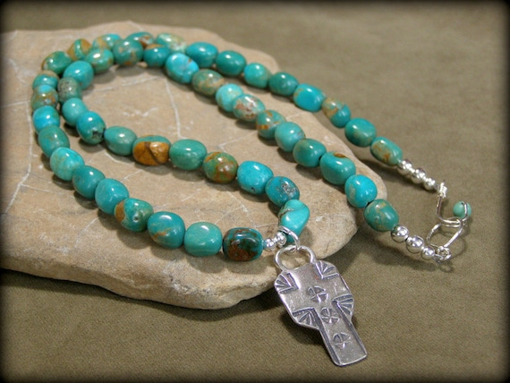 Turquoise Necklace - Cross Necklace - Beaded Necklace - Tribal Necklace - Turquoise Jewelry - Native Necklace