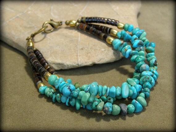Turquoise Bracelet - Beaded Stone Bracelet - Southwest Bracelet - Tribal Bracelet - Native Style Jewelry - Southwestern