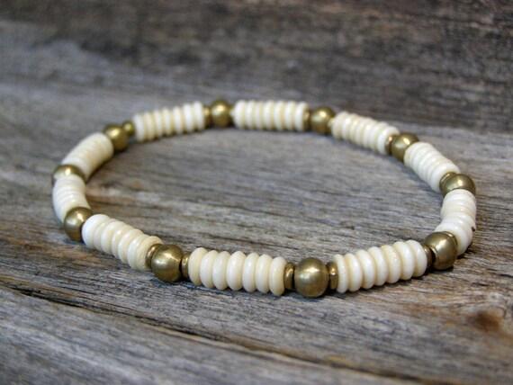 Mens Bracelet - Beaded Bracelet - Stretch Bracelet - Bone Bracelet - Mens Jewelry - Unisex Jewelry