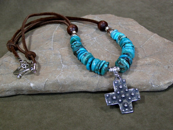 Turquoise Necklace - Leather Necklace - Cross Necklace - Pendant Necklace - Southwestern Necklace - Southwest Jewelry