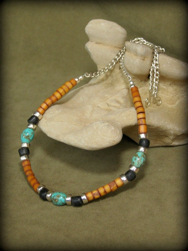 Mens Necklace Turquoise Necklace Native Necklace Tribal