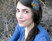 Julia Feather Hair Clip - bright natural blue gold and green feather curio fascinator