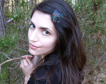 Lauren Feather Hair Pin - dainty forest green black and white polka dot natural feather fascinator