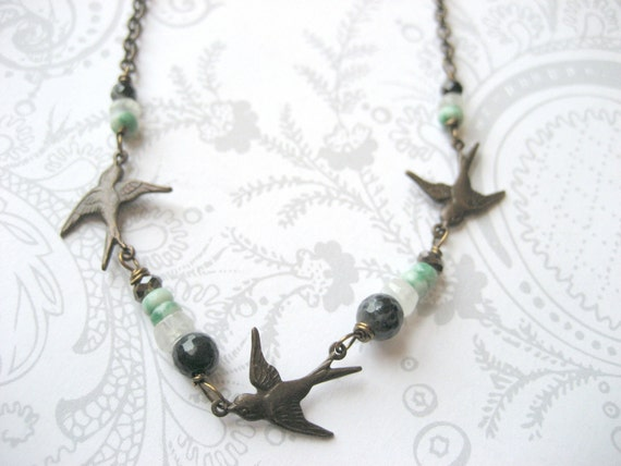 Three Little Birds Necklace - GIRL GIFT - vintage brass birds, moonstone, Amazonite, onyx and crystal - no. 3