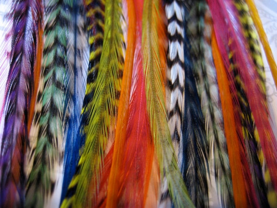 Unicorn Party Collection - 15 Bright and Grizzly Feather Hair Extensions for BANGS with 8 FREE Micro Beads, short length