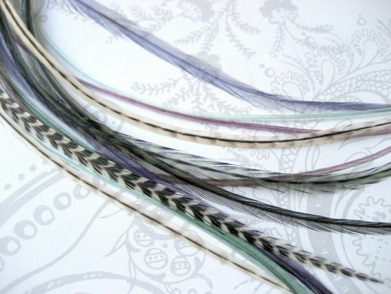 Beach Glass Collection - 12 Premium Feather Hair Extensions with 6 FREE Micro Beads, Long Length (7-12 inches)