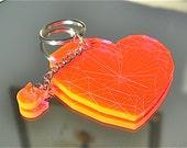 Hot Pink Heart Gem Neon Acrylic Charm Keychain Valentine Gift