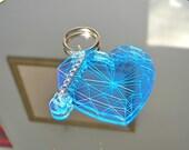 Ice Blue Heart Gem Neon Acrylic Charm Keychain Valentine Gift