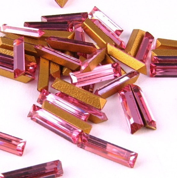 Swarovski VINTAGE Crystal RHINESTONES Machine-Cut Rose BAGUETTES 8x2mm Pink Fancy Cut Point Back Jewelry Stones Parts