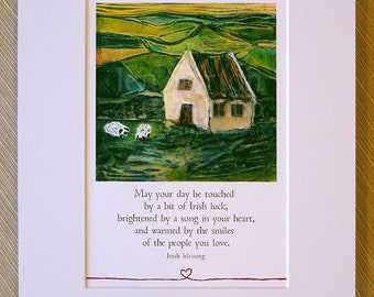 Irish Country Cottage, Matted Print, 11 x 14