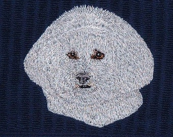 Bichon Dog Embroidered Hand Towel Set Of Two Gift Navy Blue  Kitchen  Bathroom