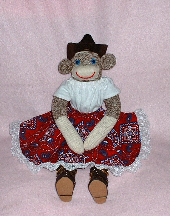Cowgirl Sock Monkey Cowboy Boots Bandanna Print By