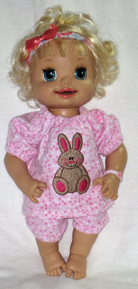 My Baby Alive Set Pink Bunny Baby Doll Pajamas Fits 16 Inch