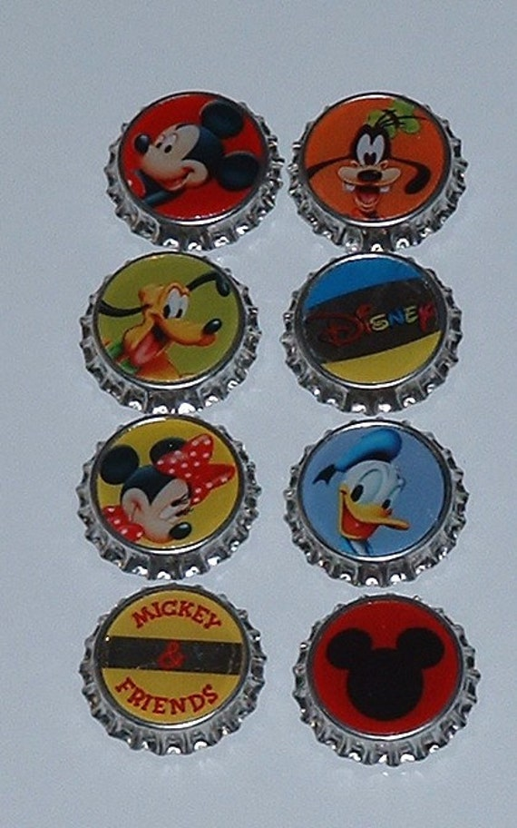 Disney Bottle Cap Magnets Mickey and Friends Set of Eight With Gift Tin