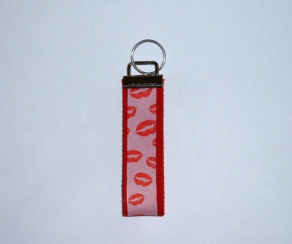 SMOOCHES Red Lip Stick Kiss Kiss Wrist Key chain  Great Gift