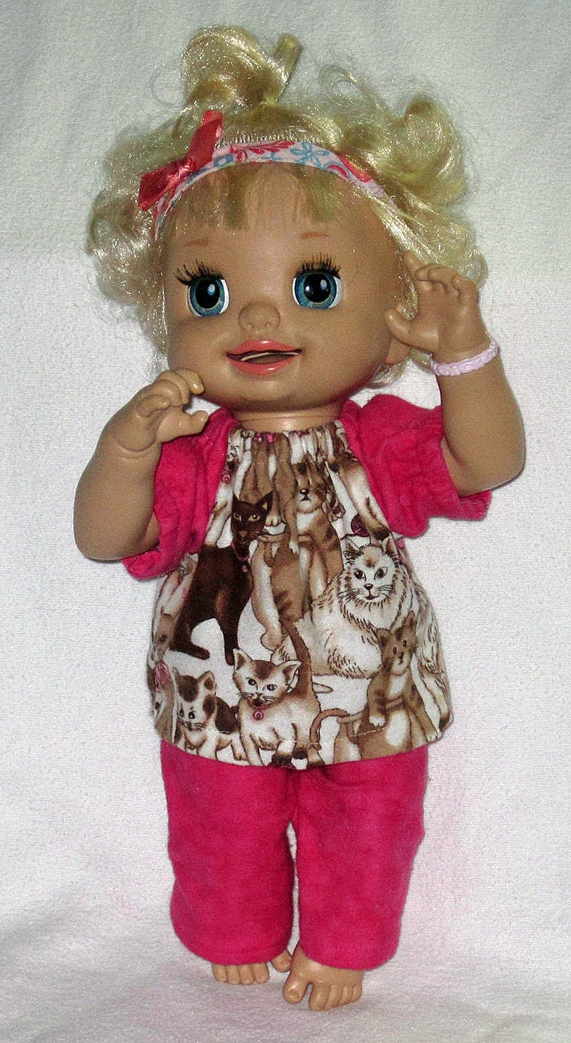 My Baby Alive Doll Clothes Chocolate Cats And Hot Pink Pajama
