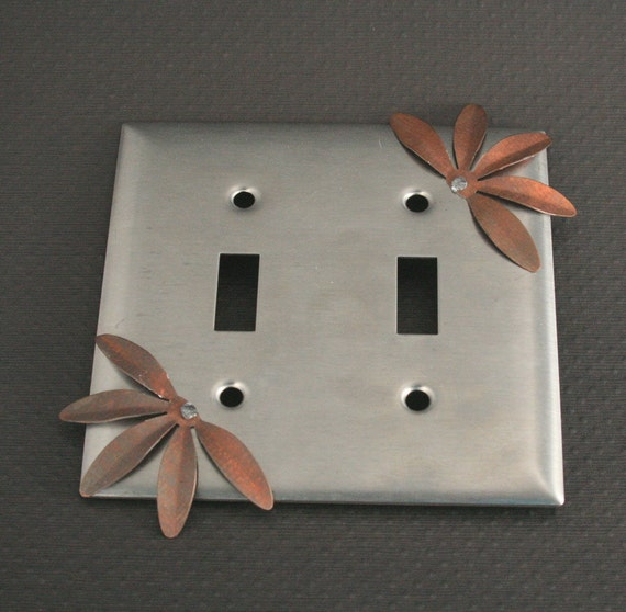 The Dahlia Lightswitch Plate--Stainless Steel adorned with rivetted Vintage Metal Flower Light Switchplate