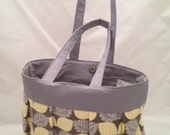 BLOWOUT SALE -- Yellow and Gray Summer Pleated Purse