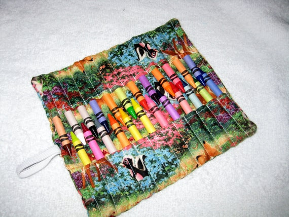 New handmade bambi and thumper crayon roll organizer