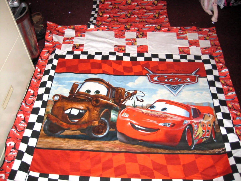 New Handmade Disney Cars 4 Piece Quilt Set