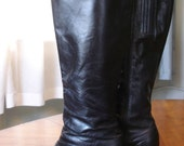 Vintage 70s\/80s Black Leather High Heel Boots, Size 8-9
