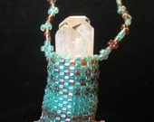 QUARTZ CRYSTAL Aqua and Golden Brown Delica Beaded Necklace Earring Set BC 34 by Jaguar Goddess Designs