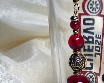 Sale RED WINE and ROSES earrings e15 by Jaguar Goddess Designs