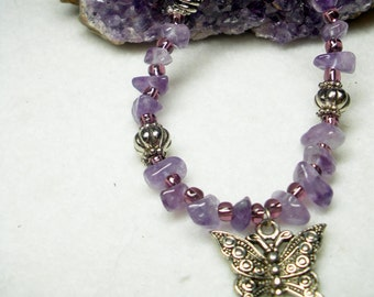BUTTERFLY and AMETHYST February Aquarius Birthstone  Czech Beads Necklace Earring Set BN5 by Jaguar Goddess Designs