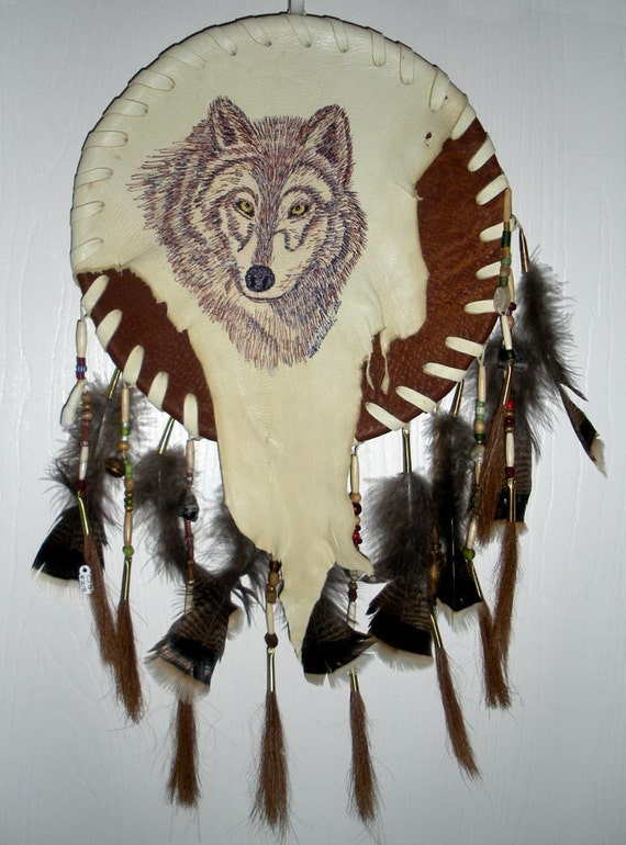 Sale WOLF TOTEM SHIELD  Wall Decor - Feathers Stones Beads by Jaguar Goddess Designs