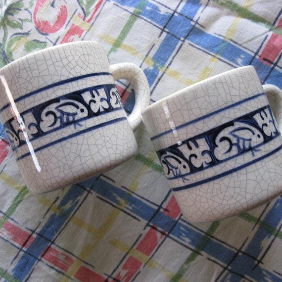 Vintage Potting Shed Dedham Rabbits Pottery Mugs 2