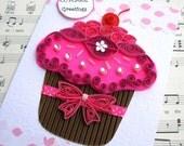 SWEET PINK CUPCAKE Paper Quilled Greeting Card