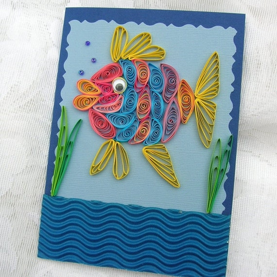 Paper Quilled Rainbow Fish in the ocean Handmade Greeting Card by Enchanted Quilling on Etsy