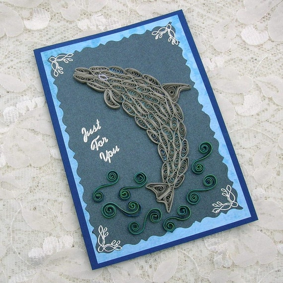 Quilled Card Paper Quilling DOLPHIN BLUE In The Sea Handmade