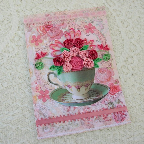 Paper Quilling Greeting Card Paper Quilled TEACUP Filled with Pink Roses Tea Party Birthday Handmade by Enchanted Quilling