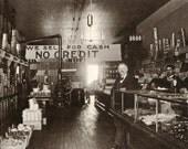 Latham's Grocery Store Circa 1900. Vintage Black and White Art Photography Print. Market, Kitchen, Cafe, Amerciana. (No. 191)